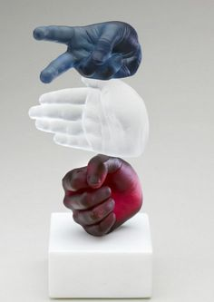 """Rock, Paper, Scissors"" Glass Sculpture -- Wrightson & Platt"