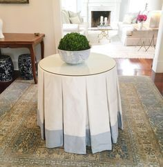 Linen tableskirt with CONTRAST BORDER, table skirt with tailored, box pleats, choose your own color Cafe Curtains, Box Pleats, Traditional Decor, Table Covers, Room Colors, Home Decor Items, Instagram, Skirted Table, Table Skirts