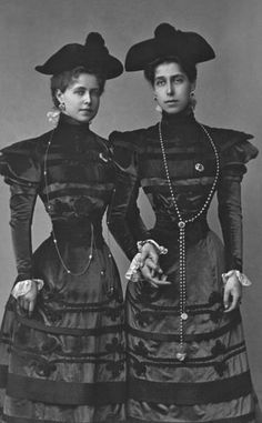 Marie, Princess of Romania with her sister Victoria Melita who would become a Grand Duchess when she married her cousin, Grand Duke Krill.
