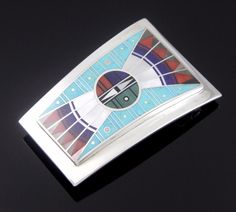 NAVAJO STERLING SILVER MOSAIC INLAY YEI FACE BELT BUCKLE by ERNEST BENALLY