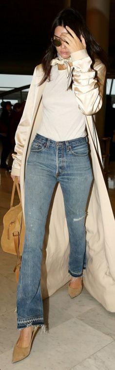 Kendall Jenner: Jacket – August Getty Atelier  Jeans – Re/Done  Purse – Balmain  Shoes – Saint Laurent