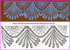 Risultati immagini per miria croches e pinturas Crochet Collar Pattern, Gilet Crochet, Crochet Lace Edging, Crochet Borders, Crochet Diagram, Basic Crochet Stitches, Crochet Chart, Thread Crochet, Irish Crochet