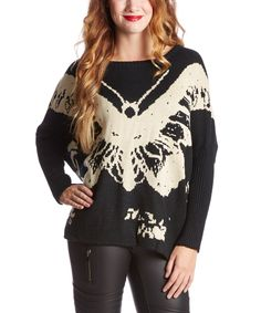 Morning Apple Black & Cream Butterfly Sweater | zulily