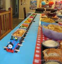 Thomas and Friends Themed Birthday Party - Announce It! - Thomas and Friends Themed Birthday Party Front food train front - Thomas Birthday Parties, Thomas The Train Birthday Party, 2nd Birthday Boys, 2nd Birthday Party Themes, Trains Birthday Party, Train Party, Train Birthday Cakes, Thomas Birthday Cakes, Boys 2nd Birthday Party Ideas