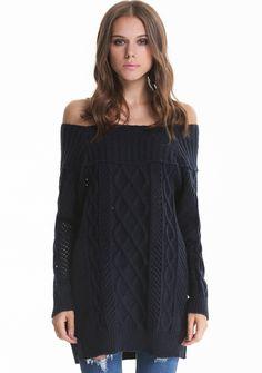 #SALE Blue Off the Shoulder Diamond Patterned Knit Sweater Shop the #SALE at #Sheinside
