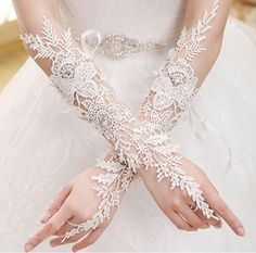 In Stock 2015 Winter New Design Fingerless Lace Bridal Gloves Ivory Long Wedding Gloves Gants De Mariage Wedding Accessories Lace Bridal, Lace Wedding Dress, White Bridal, Wedding Wear, Wedding Dresses, Ivory Wedding, Wedding Jewelry, Luxury Wedding, Crystal Wedding