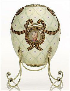 The portrait of Nicholas II on the 1916 egg. It turns out that this was the only Imperial Egg that left Russia with the original owner.