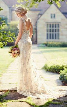Open back Essense of Australia wedding dresses featuring vintage-inspired Lace overdress with a V-neckline, Lace shoulder straps and hand-sewn Diamante crystal accents.