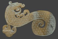 """Han dynasty pectoral ornament, yellowish nephrite; 5"""" or 12.5cm.  See board: Jade Dragon Pectoral Ornaments: Jon Edwards Collection. email: jon@stonesfromheaven.com"""
