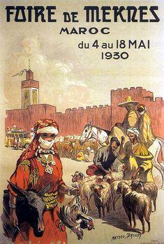 Vintage Travel Poster,  Foire de Mekres , (Mekka) Maroc..(1930).