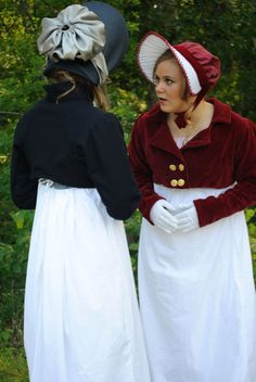 Regency Jane Austen Day Tea dress & Spencer jacket in red velveteen and matching bonnet (coats and bonnets)