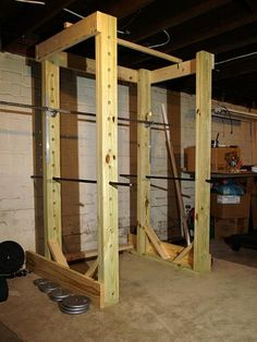 TO BUILD - squat rack / pullup stand. Mostly 2x6's and change. Hmmmm build my own? It's an option!