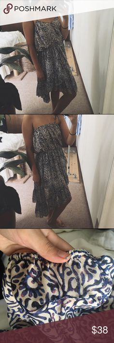 """FREE PEOPLE/ safari sun dress ⱝ free people ⱝ blue """"safari sun"""" asymmetrical dress ⱝ silky chiffon material ⱝ lined ⱝ also fits a small ⱝ straps can be tied multiple ways ⱝ 1"""" mended rip on the top back ⱝ otherwise, amazing condition   SIZE REFERENCE // 5'2 - 34A - S IN TOPS - 4 IN PANTS  ANY OFFERS ARE WARMLY ENCOURAGED  BUNDLE DISCOUNT DEPENDS ON THE ITEMS Free People Dresses"""