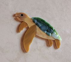 SEA TURTLE Precut Stained Glass Art Mosaic Inlay Coral reef Seascape Table Tile  #RachelKratzer