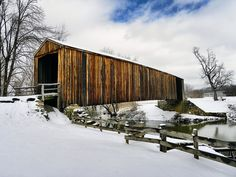 Snow-covered covered bridge at Bollinger Mill, just north of Cape Girardeau