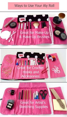 MakeUp Brush Roll Crochet Hook Case Pencil Roll in by UpUrAly