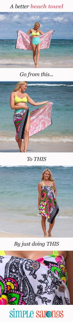 """This is one of my greatest finds...Clever buttons make sarong wrapping a no-brainer."" --creative director of O, the Oprah Magazine.  See all styles at http://simplesarongs.com"