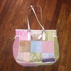 Coach Patchwork Large Tote Colorful patchwork Coach tote bag in pastel hues. Suede and leather combo. Interior zipper pocket and phone pockets. In great condition. Some spots on bottom suede patches of the bag. Coach Bags Totes