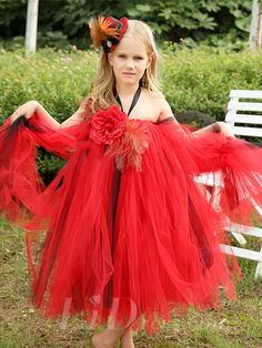 Little Girls Red TuTu Performance Dress Flower Girls Skirt