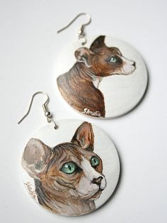 Wooden earings with handpainted sphinx cat by SkadiaArt on Etsy