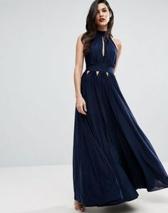 ASOS Halter Pleated Maxi Dress With Cut Outs