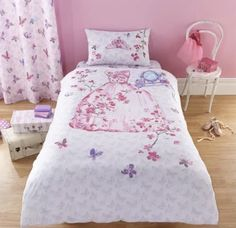 Catherine Lansfield Glamour Princess Duvet Cover Set in Pink Single Princess Curtains, Princess Bedrooms, Duvet Sets, Duvet Cover Sets, Comforter Cover, Single Duvet Cover, Childrens Beds, Duvet Bedding, Pink Bedding