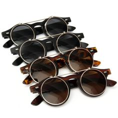Women Clamshell Steampunk Sunglasses Round Glasses Cyber Goggles Vintage Retro Style Sunglass - Gchoic.com