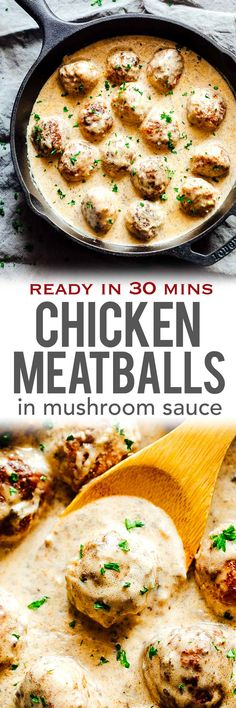 These creamy chicken meatballs in mushroom sauce are soft, juicy, full of flavour and tossed in a luscious sauce made up with lots of mushrooms. This is a delicious 30 minute dish that's perfect for dinner with some noodles or pasta. via @my_foodstory