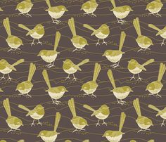 Birdies grey fabric by cjldesigns on Spoonflower - Create your own custom fabric designs Australian Flowers, Fibre And Fabric, Diy Sewing Projects, Surface Pattern Design, Large Art, Custom Fabric, Flower Designs, Spoonflower, Fabric Design