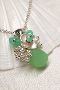 green beach glass necklace