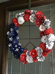 Pinecone wreath red white and blue pinecone patriot mini star pinecone ornaments cute christmas craft for kids and adults fun diy project for the holidays homemade christmas ornaments easy peasy great gifts! Pine Cone Art, Pine Cone Crafts, Wreath Crafts, Diy Wreath, Pine Cones, Pine Cone Wreath, White Wreath, Patriotic Crafts, July Crafts