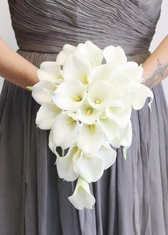 """White Real Touch Calla Lily Cascading Bouquet<br>8"""" Tall x 7"""" Wide"""
