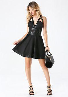 bebe Faux Leather Trim Dress