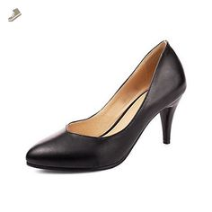 AmoonyFashion Women's Mixed Material Solid Pull-On Pointed Closed Toe High-Heels Pumps-Shoes, Black, 39 - Amoonyfashion pumps for women (*Amazon Partner-Link)