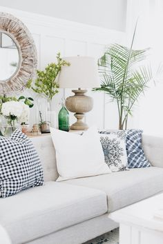 Downstairs sofa color scheme...navy, white and green