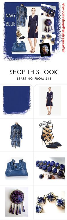 """""""Navy Blue"""" by renaissance-fair ❤ liked on Polyvore featuring Ann Taylor, Chico's, Giuseppe Zanotti and Lazuli"""