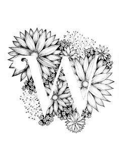 Kunstdruck der Buchstabe W mit floralen Hintergrund. Tolles Geschenk! Nachricht für Anpassungen oder Auftragsarbeiten. Schwarze und weiße Tinte, mehr Buchstaben des Alphabets in Kürze.