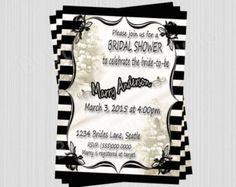 Bridal Shower Invitation , Vintage Elegant, Romantic, Lily of the valley invitation,  Antique Bridal Shower