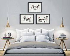 Conjunto de quadros ou Posters para parede com 3 itens Aquarelados - Arrumadíssimo