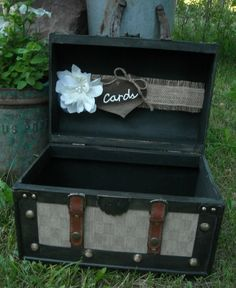 I love old trunks and old suitcases... I think this is a super cute idea for cards.   Wedding Trunk Card Holder Western Wedding Card Holder Rustic Card Holder Burlap and Lace Wedding