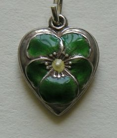 Vintage Green Enameled Pansy Sterling Heart Charm..