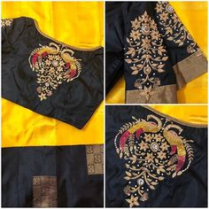 Creme themed Rawsilk blouse paired with sizzling navy blue Kancheevaram saree from by Model:… Black Blouse Designs, Simple Blouse Designs, Stylish Blouse Design, Bridal Blouse Designs, Blouse Neck Designs, Sleeve Designs, Maggam Work Designs, Pattu Saree Blouse Designs, Sumo