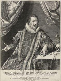 Johann Sadeler (I) | Portret van Otto Heinrich van Schwartzenberg in memoriam, Johann Sadeler (I), Wolfgang Jakob van Schwartzenberg, 1590 | Otto Heinrich van Schwartzenberg, keizerlijke commisaris in Keulen en adviseur van hertog Willem van Beieren. Kniestuk, van voren gezien, zittend naast een tafel, waarop zijn linkerarm rust.  Op de tafel een doodshoofd, een passer, een klok en een stuk papier waarop de tekst 'Mors fiat mihi grata quies, portusque salutis'. Kleding: met bont afgezette…