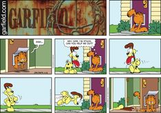 "Created by Jim Davis, Garfield is about the famous fat cat and his hilarious daily adventures with his ""pal"" Odie and others. Garfield Cartoon, Garfield Comics, Garfield And Odie, Comic Book Characters, Comic Books, Hagar The Horrible, Funny Comic Strips, Jim Davis, Pokemon"