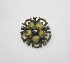 Vintage Costume Jewellery Brooch Pin By Miracle Art Glass Agate Green Cabochons Scottish Thistle Design Silver Tone Metal 1950s by AdornAnewVintage on Etsy #AdornAnew #Etsy #VintageJewellery #ShopSmall