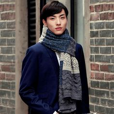 High Quality Men's Scarf Knitted Patchwork Thickening Warm
