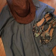 Denim button down Great condition! Sleeves can be worn down or rolled up! Great for a summer cover up! XL but I'm a small and wore it with super cute outfits Coldwater Creek Tops Button Down Shirts