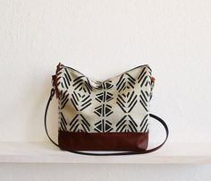 Aztec print crossbody bag Messanger bag Canvas and by byMART