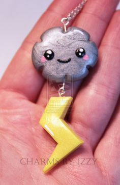 Kawaii silver cloud with lightning charm necklace by ~CharmsByIzzy on deviantART