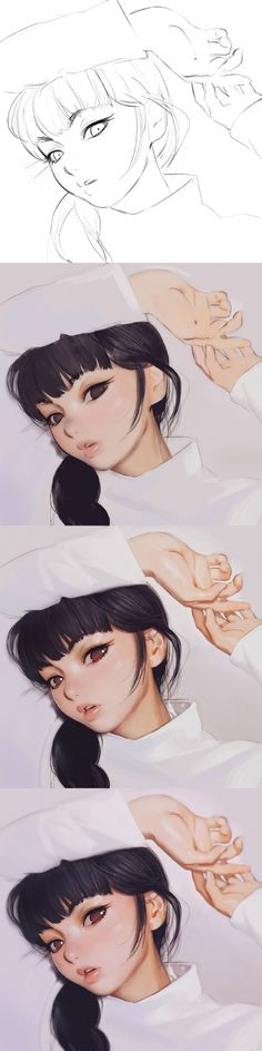 anime girl coloring and shading step-by-step Digital Painting Tutorials, Digital Art Tutorial, Art Tutorials, Painting Process, Process Art, Anime Kunst, Anime Art, Paint Photoshop, Character Illustration